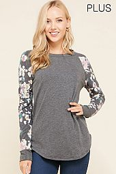 PLUS FLORAL PRINT SLEEVES TRIM TOP