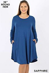 PLUS SOLID ROUND NECK A LINE DRESS