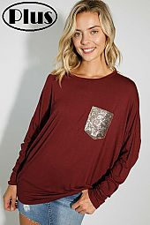SOLID SEQUIN POCKET DETAIL DOLMAN SLEEVE TOP