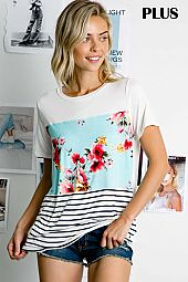 PLUS MULTI COLOR BLOCK PRINT JERSEY TOP