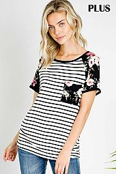 PLUS FLORAL TRIM STRIPED JERSEY TOP