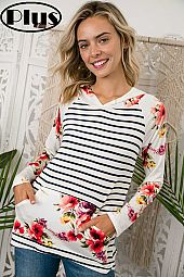 FLORAL AND STRIPE PRINT HOODIE TOP
