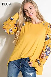 FLORAL PRINT SLEEVE ROUND NECK TOP