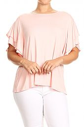 RUFFLE SLEEVES JERSEY TOP
