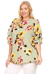 PLUS TIER RUFFLE SLEEVES FLORAL TOP