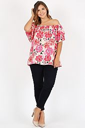 PLUS FLORAL FLOUNCE OFF SHOULDER BLOUSE