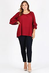 TIER RUFFLE SLEEVES SOLID TOP