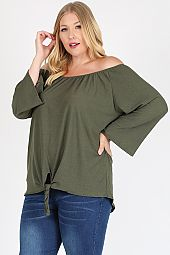 PLUS FRONT TIE OFF SHOULDER BLOUSE