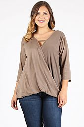 PLUS SOLID SURPLICE TOP