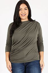 SOLID JERSEY RUCHED TOP