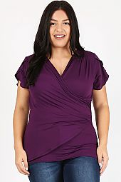PLUS RUCHED V NECK TOP