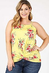 PLUS TWIST KNOT FLORAL PRINT TANK TOP
