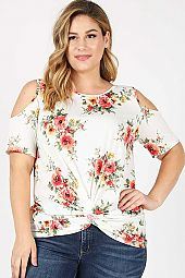 FLORAL PRINT TWIST KNOT COLD SHOULDER TOP