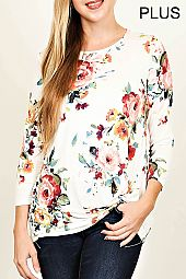 TWIST FRONT FLORAL JERSEY TOP