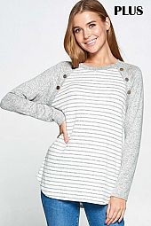PLUS HEATHER STRIPE PRINT BUTTON CONTRAST TOP