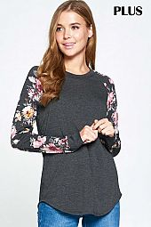 PLUS SOLID AND FLORAL PRINT SLEEVE CAUSAL TOP