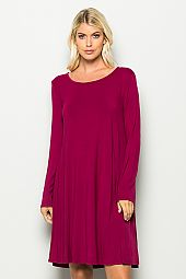 SOLID KNIT JERSEY SCOOP NECK DRESS