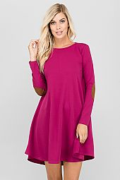 SUEDE ELBOW PATCH TRIMMED DRESS
