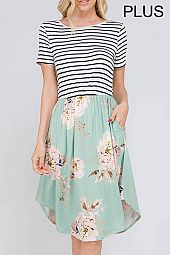 PLUS STRIPE BODICE FLORAL SKIRT DRESS