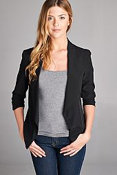 RUCHED SLEEVES SOLID BLAZER JACKET