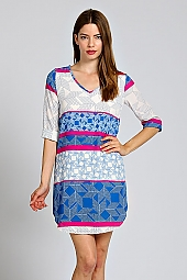 CUFF SLEEVE GEO SHIFT DRESS