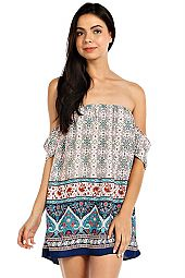 BOHEMIAN BORDER PRINT OFF-SHOULDER DRESS