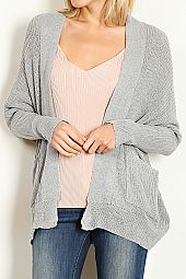 POCKET TRIM LOW GAUGE CARDIGAN