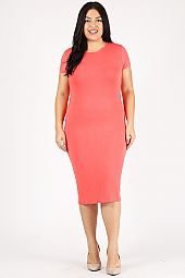 PLUS ROUND NECK MIDI DRESS