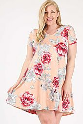 PLUS FLORAL PRINT V NECK DRESS