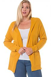 PLUS POCKET TRIM SOLID CARDIGAN
