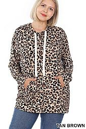 PLUS LEOPARD PRINT HOODIE TOP WITH KANGAROO POCKET
