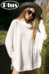 SOLID TURTLE NECK SIDE SLIT HIGH LOW BOXY PLUS TOP