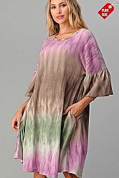 TIE DYE RUFFLE SLEEVE POCKET DRESS PLUS