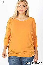 PLUS ITY BOAT NECK DOLMAN 3/4 SLEEVE