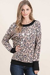 ANIMAL PRINT FRENCH TERRY SELF LONG SLEEVE TOP