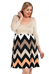 CHEVRON PRINT CONTRAST SOLID BODICE COMBO DRESS