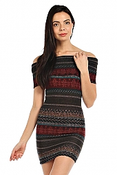 TRIBAL PRINT COWL NECK DRESS