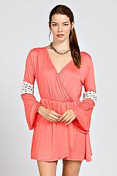 CROCHET PANEL ACCNET SURPLICE DRESS
