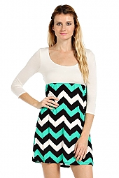 COLORBLOCK CHEVRON PRINT KNIT COMBO DRESS