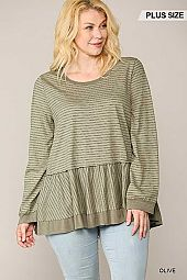 Pinstriped Raglan Sleeve Peplum Top