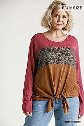 Animal Print Colorblock Round Neck Top