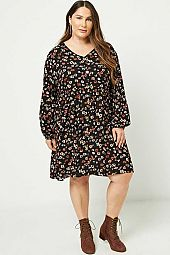 Plus Button Down Floral Mini Dress