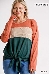 Colorblock Round Neck Long Sleeve Top