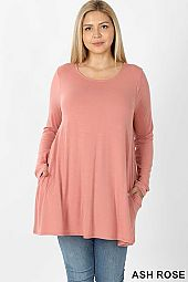 PLUS LONG SLEEVE BOAT NECK FLARED TOP