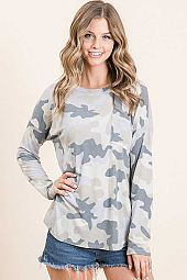 CAMO PRINT ROUND NECK LONG SLEEVE FRONT POCKET TOP