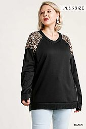 French Terry Animal Print Raw Edged Detail Tunic Top
