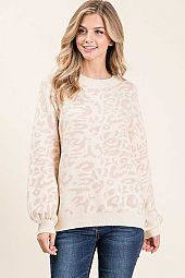 ANIMAL PRINT DOLMAN LONG SLEEVE SWEATER