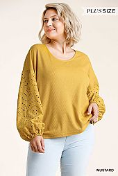 Lace Puff Sleeve Round Neck Waffle Knit Top