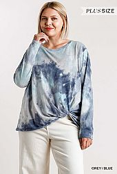 Tie-Dye Round Neck Long Sleeve Top