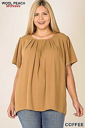 PLUS WOVEN WOOL PEACH ROUND NECK PLEATED TOP